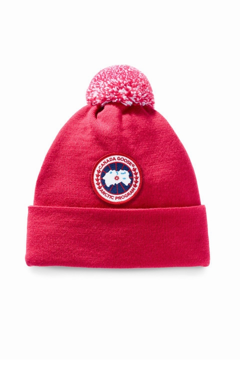 カナダグース キッズ キャップ Canada Goose Kid's Merino Pom Toque Red
