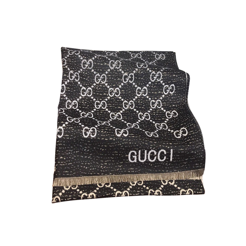 GUCCI Double-sided jacquard GG wool scarf