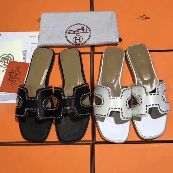 17SS Hermes  H Ladies slippers 2 Color