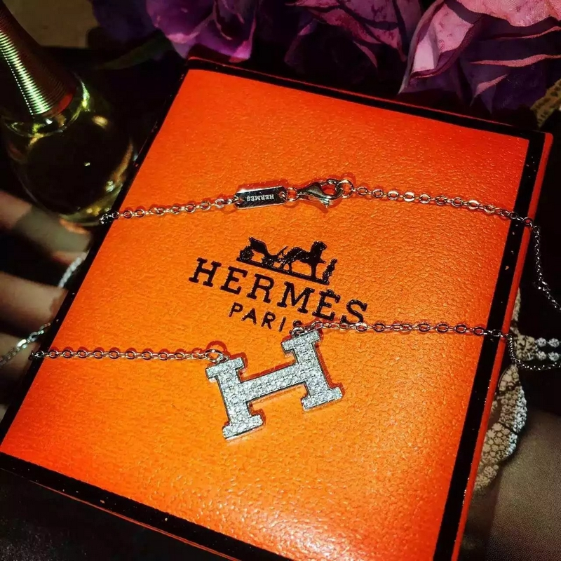 Hermes H Fashion Diamond Necklace Pendant and Necklace for Women