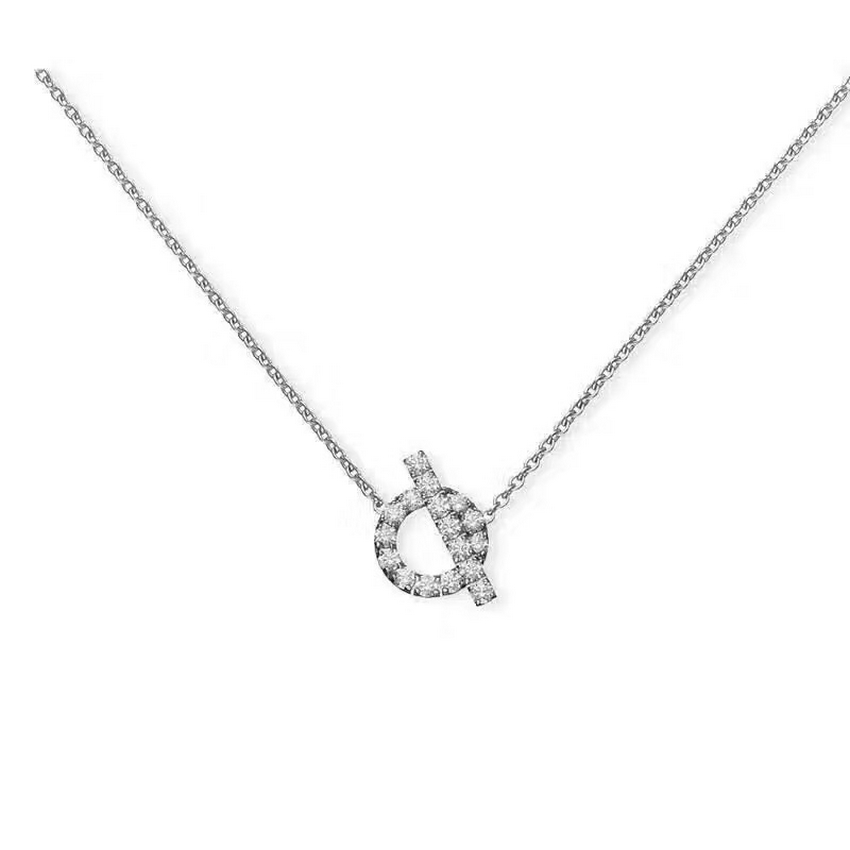 Hermes Women's Hollow Out  Pendant Necklace Silver Necklace