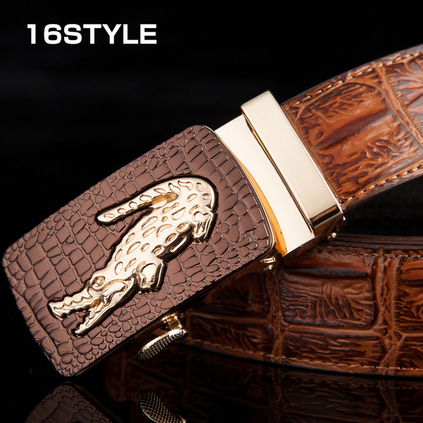 Hermes Genuine Leather Belt Mens's Business Belt Automatic Buckle Crocodile Pattern 16 Style