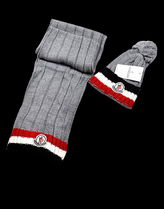 Moncler Fashion Grey Scarf & Cap
