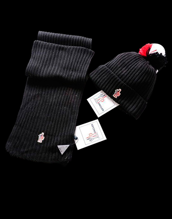 Moncler Simple Black Scarf & Cap