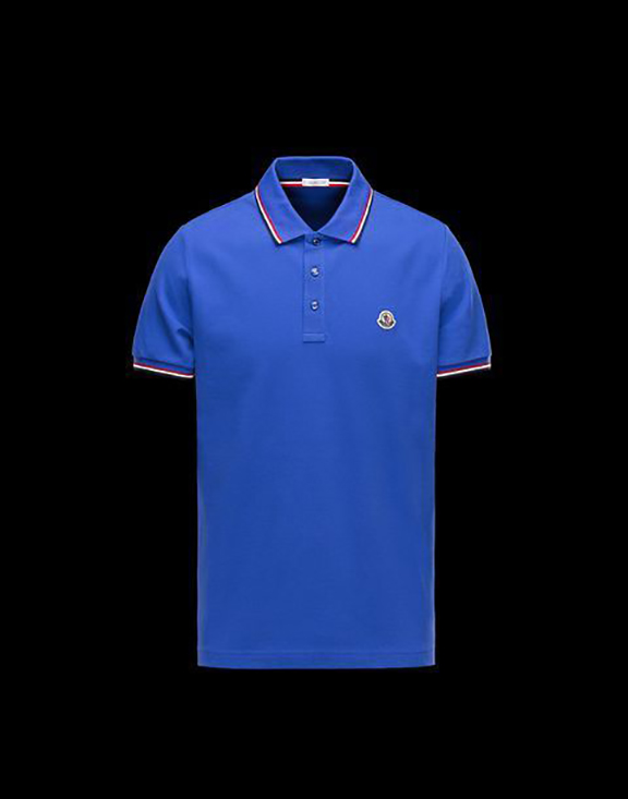Men Moncler Polo Shirt Dark Blue