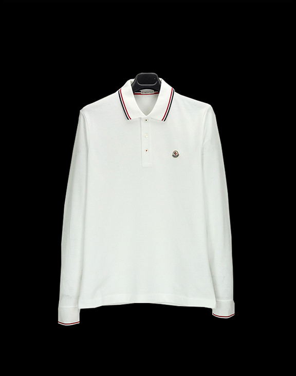 Men Moncler Long Sleeve Polo Shirt White