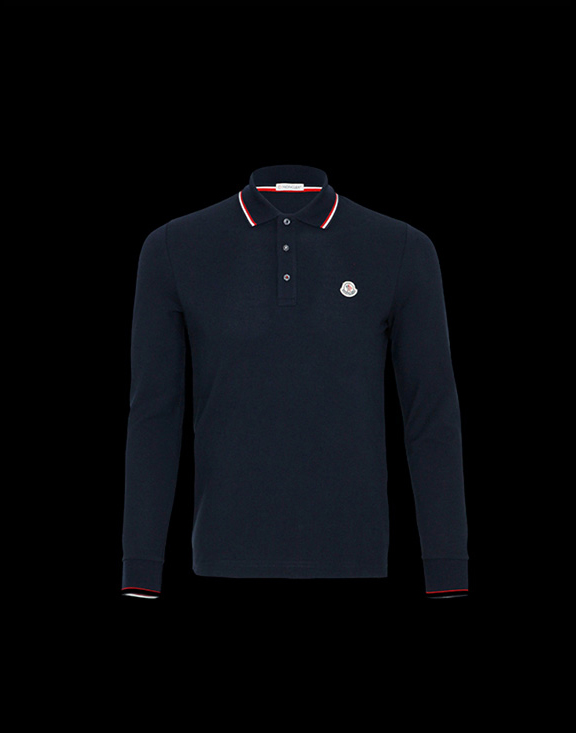 Men Moncler Long Sleeve Polo Shirt Blue