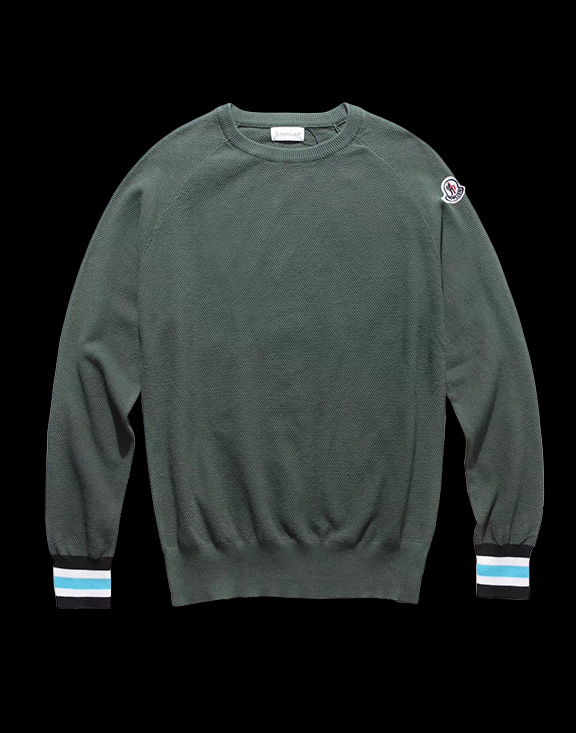 Men Moncler Round Neck Sweater Green