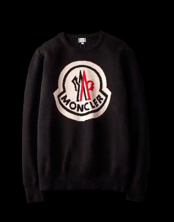 Men Moncler Round Neck Sweater Black