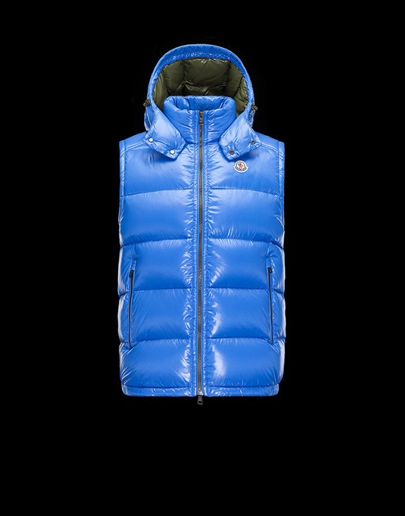 Men Moncler Vests Lacet Blue