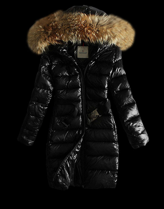 Women Moncler Long Down Jackets Nantesfur Black