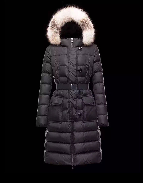 Women Moncler Long Down Jacket Genevriette Black