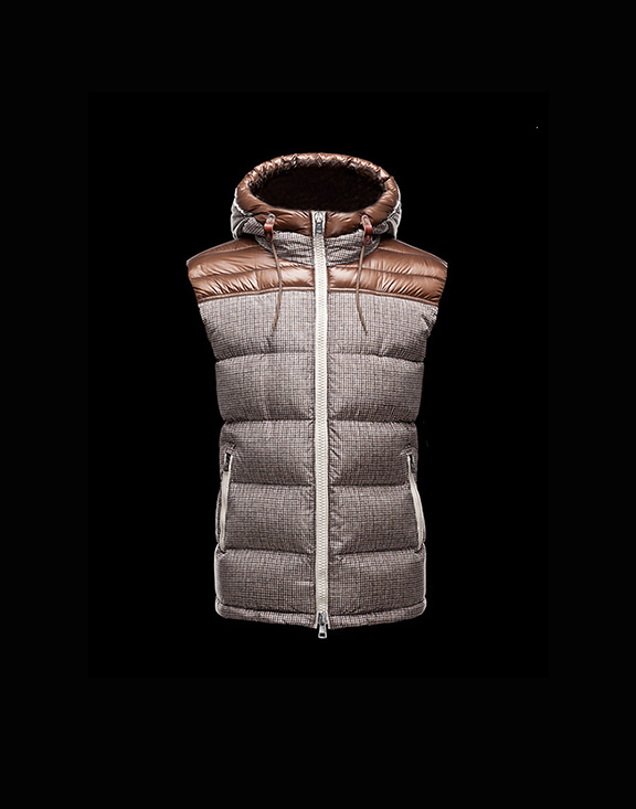 Men Moncler Vests Strip Khaki