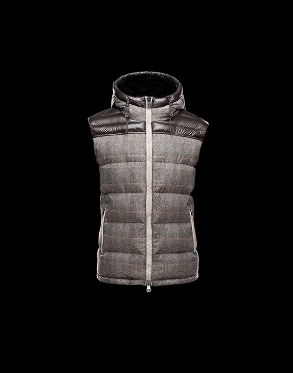 Men Moncler Vests Strip Brown