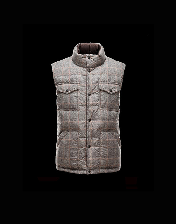 Men Moncler Vests Strip Grey