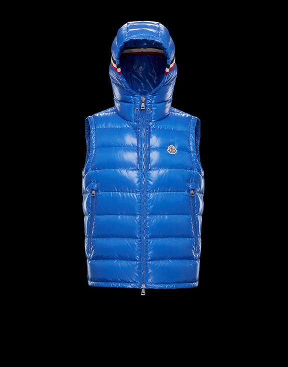 Men Moncler Vest Lanoux Blue