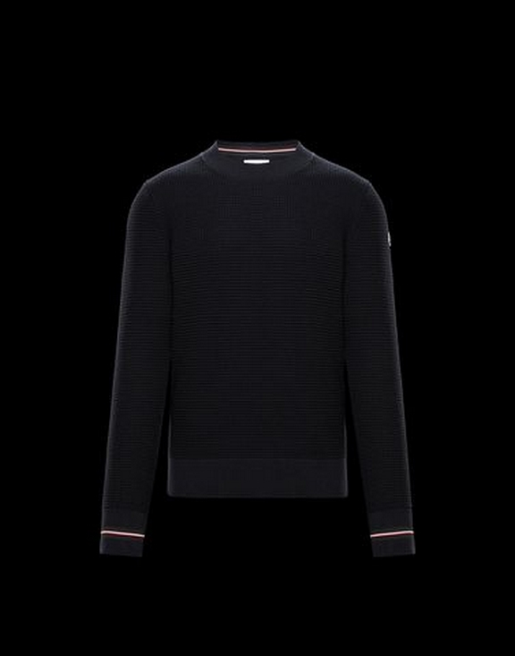 Men Moncler Round Neck  Sweatershirt  Black