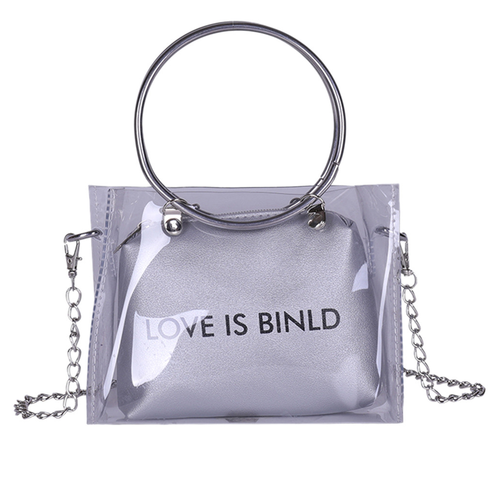Women PVC Transparent Square Bag Fashion Clear Satchel Bag Ladies Crossbody Bags Chain Small Jelly Ring Handle Handbags #YJ