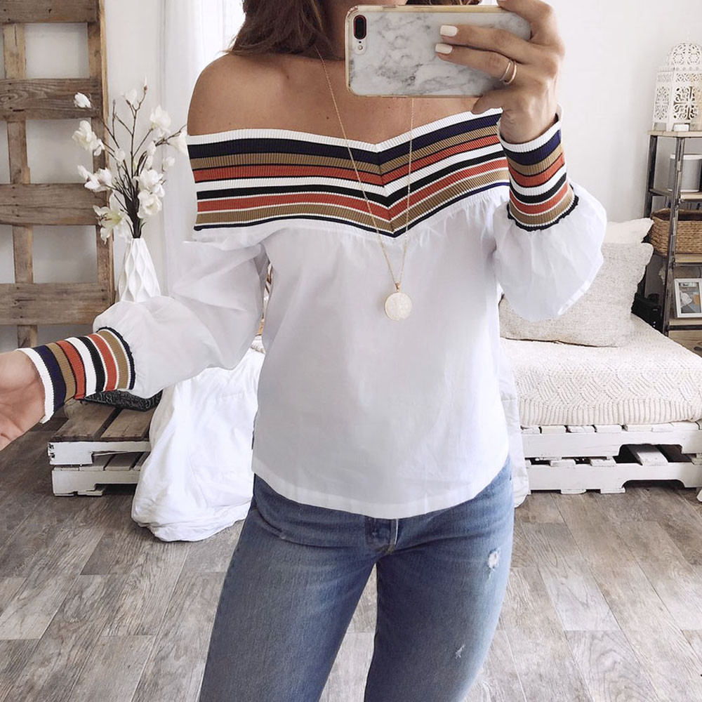 Women Autumn Casual Multicolor Long Sleeve Off Shoulder Top Blouse blusas mujer de moda #20181013 plus size