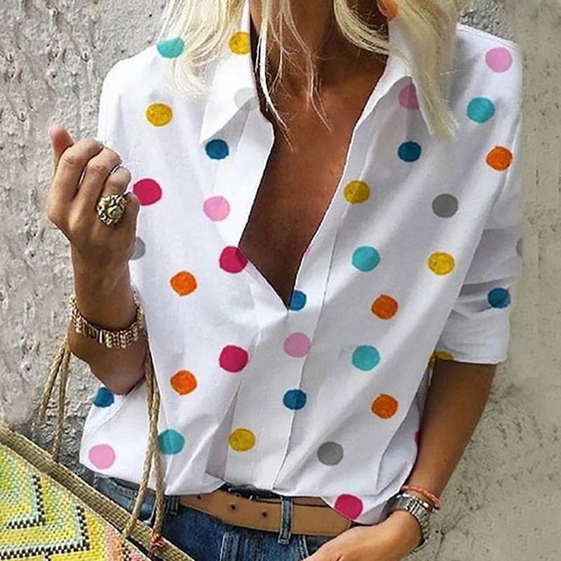 NIBESSER 2019 New Women Blouse Tops Women Work Office Dot Print Blouse Shirt Casual Long Sleeve Shirt Blouses femmes mode Blusas