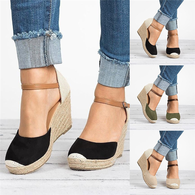 Laamei Women Shoes Suede Wedges High Ankle Sandals Round Toe Casual Shoes 2019 New High Slope Round Head Sandals Casual Shoes
