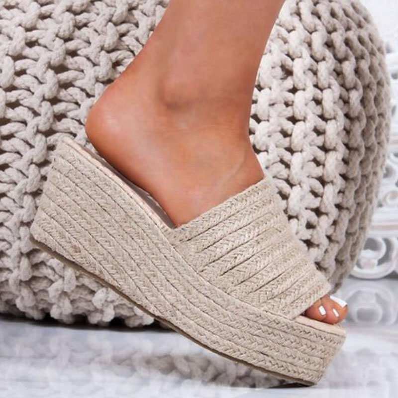 Platform slippers women open toe wedges sandals ladies summer high heels espadrilles shoes big size flip flops zapatos mujer 43