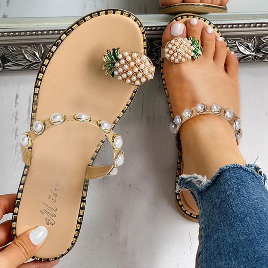 ladies sandals summer casual sandals Women's Flat Toe Pineapple Pearl Bohemian Casual Shoes Flat with Beach Sandal Slippers Ju10