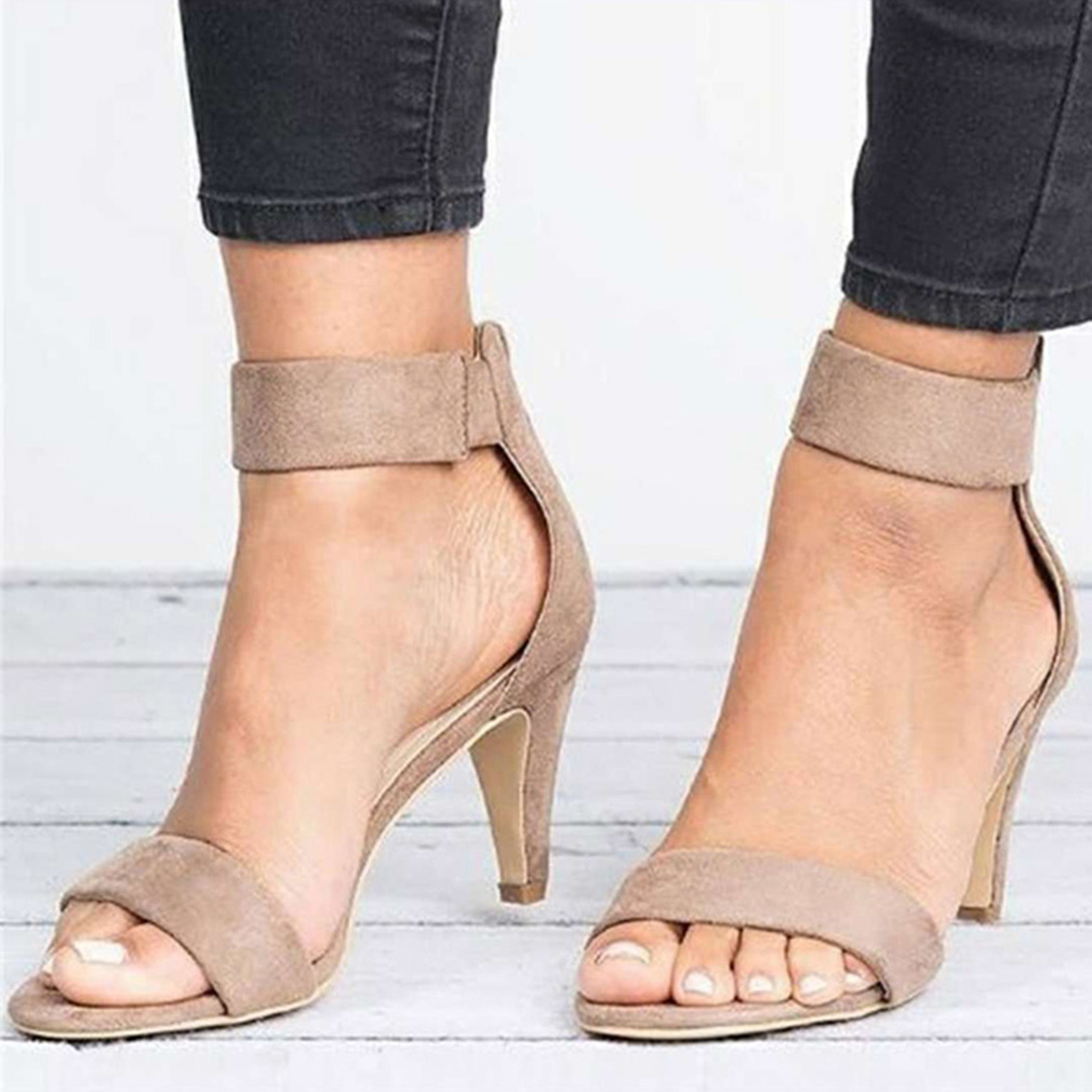 Women Sandals Open Toe Summer Shoes High Heels Sandals Female Thin Heel Shoes Suede Wedding Sandale Ladies 2019 Sandalias Mujer