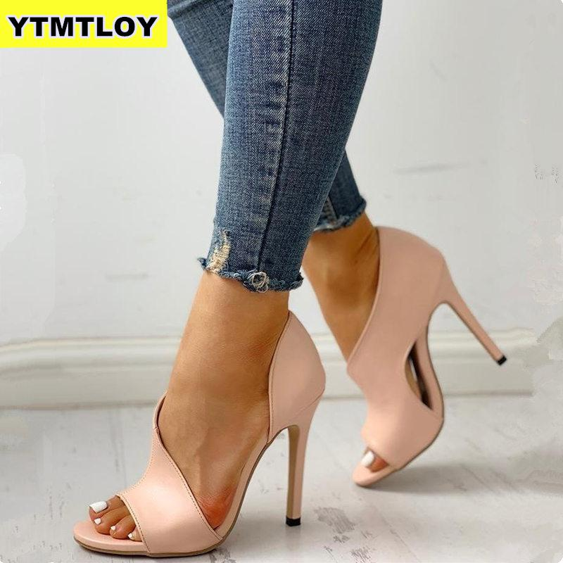 HOT Hollow Women sandals New Shoes Sexy High Heels Ladies Party Stiletto & Enlargers Female Silver Wedding  Snake Print Zapatos