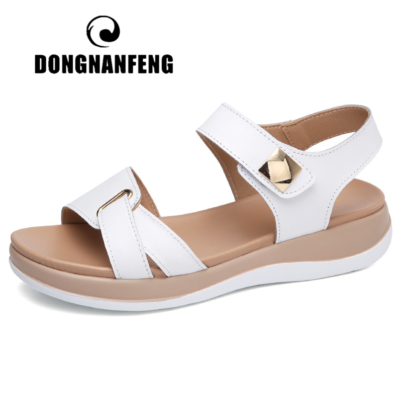 DONGNANFENG Women Female Ladies Mother Genuine Leather Shoes Sandals Flats Soft Hook Loop Korean Bling Summer Beach NM-1003-1