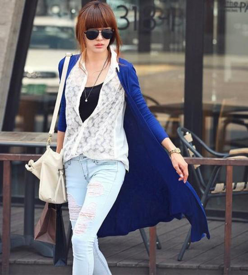 Fashion Women Casual Outwear Long Sleeve V neck Cardigan Long T shirt 2017 New Solid Tee Shirt