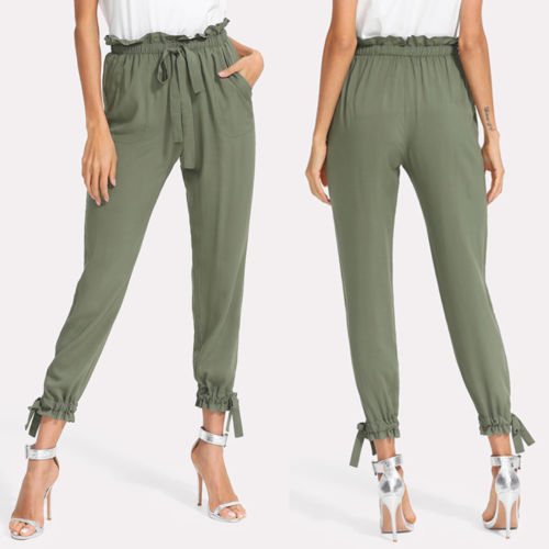 Fashion Women Army Green Solid Color Elastic High Waist Pencil Foot Trousers Harem Pants S-XL