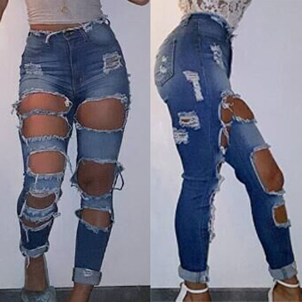 New 2017 Fashion Women Hole High Waist Skinny Tight Long Jeans Pencil Stretch Denim Pants Ripped