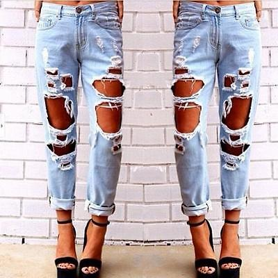 Fashion Women Destroyed Ripped Distressed Slim Hole Jeans Trousers 2018 New Pencil Denim Pants