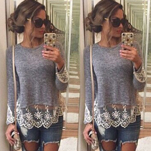 Fashion Women Ladies Cotton Casual Long Sleeve Lace Floral Patchwork O-neck Tops T shirt
