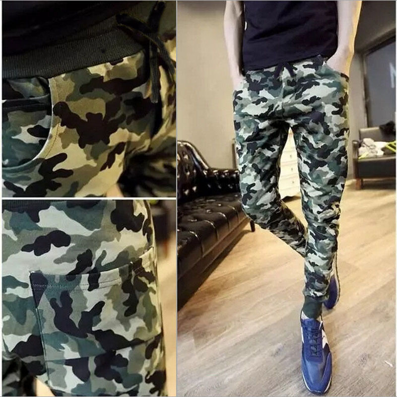 Men's Camouflage Harem Casual Baggy High Waist HipHop Jogger Sweat Pencil Pants Trousers