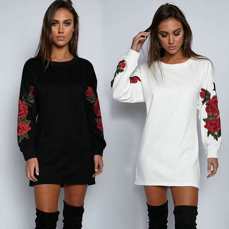 New 2017 Womens Embroidery Floral Long Sleeve Long Hoodie Sweatshirt Jumper Pullover Tops Coat