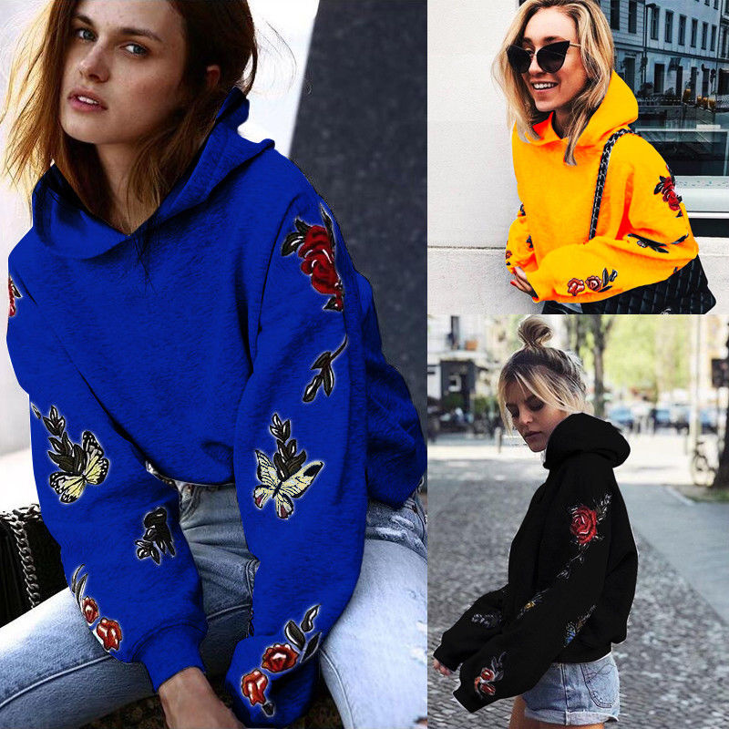 Fashion Women Embroidery Floral Long Sleeve Hooded Hoodie Coat Pullover Tops Hoodie Sweatshirt