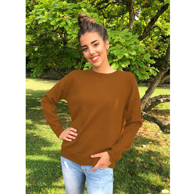 Fashion Women O Neck Knitted Long SLeeve Loose Hoodie Sweatshirt Tops Bandage Cross Knitwear