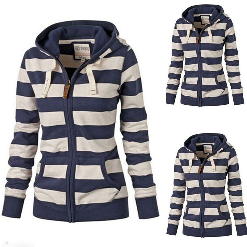 Women Ladies Striped Long Sleeve Sweatshirt Zipper Coat Hoodie Jumper 2017 New Womens Hooded Hoody