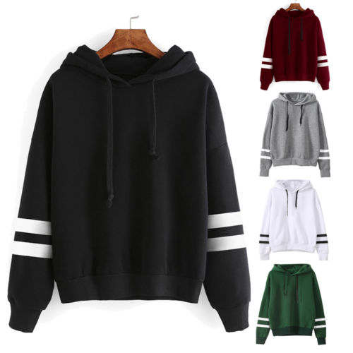Fashion Womens Striped Long Sleeve Solid Hooded Hoodie Sweatshirt Jumper Hooded Warm Pullover Tops