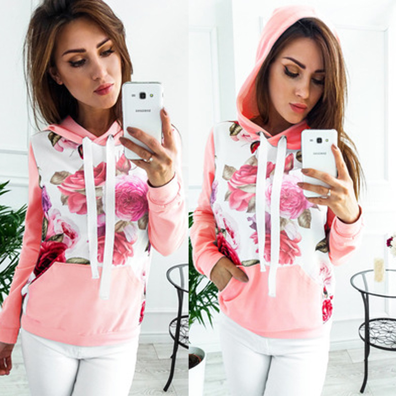 Women Long Sleeve Floral Large Pocket Hoodie Pullover Sweatshirt Casual Hooded Autumn Tops