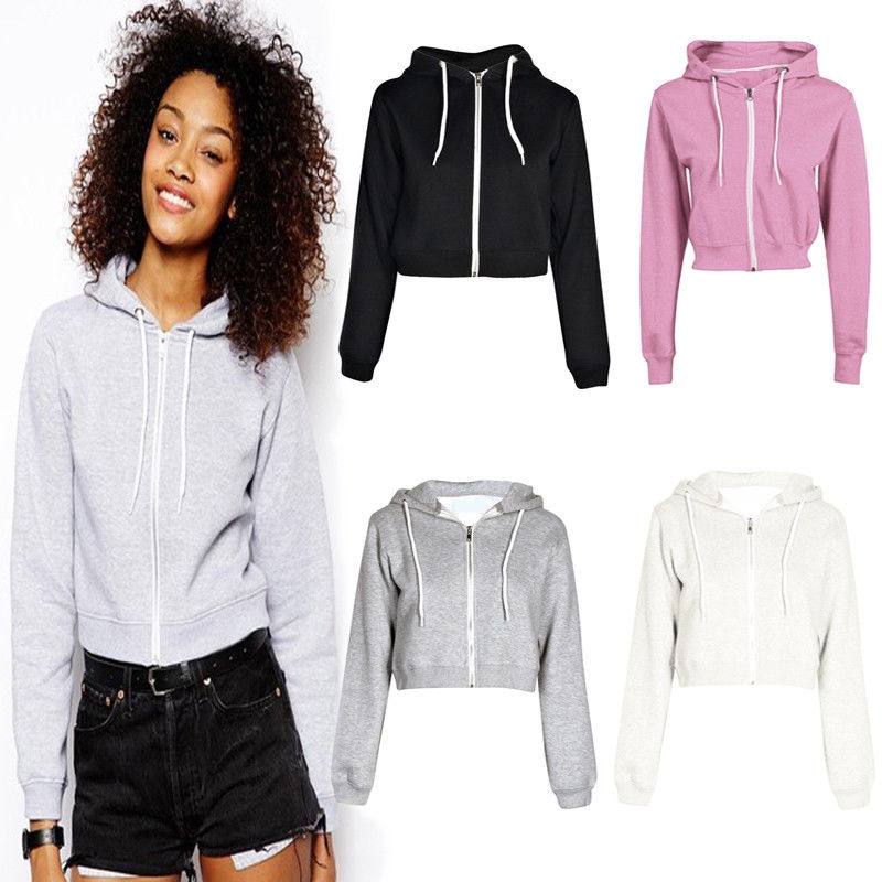 New 2017 Fashion Women's Autumn Winter Long Sleeve Zip Hooded Short Hoodie Sweatshirt Warm Jumper Solid Pullover Tops