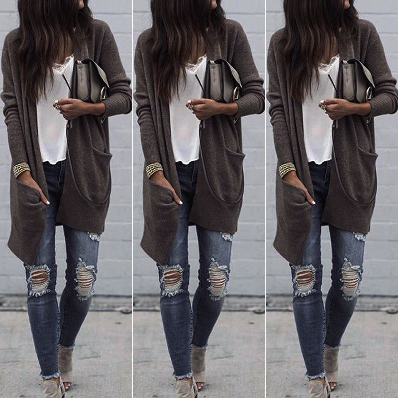 New 2017 Women Casual Long Sleeve Cardigan Knit Knitwear Long Sweater Coat Thick Outwear Tops