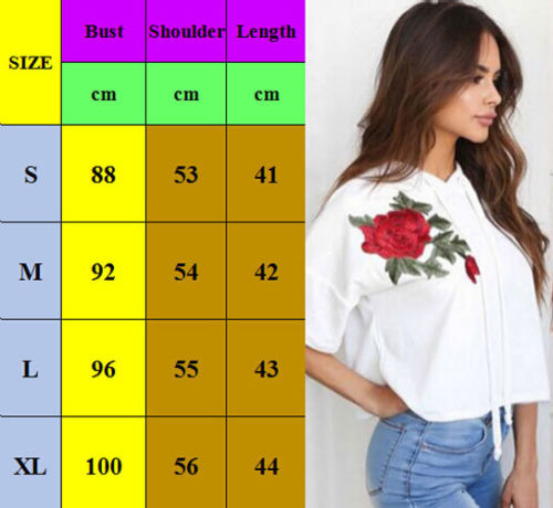 Embroidery Floral Hoodie Women Short Sleeve Hooded Short Hoodie Sweatshirt Summer Pullover Hoodies