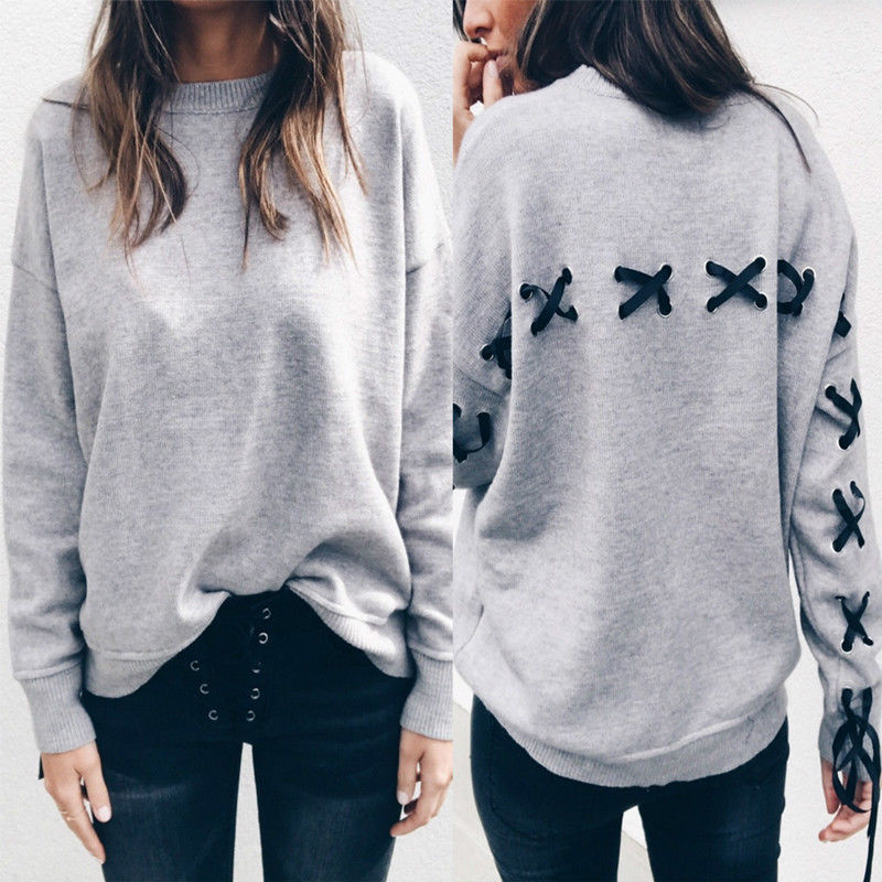 2017 New Fashion Women Tops Bandage Cross Long Sleeve Loose Women Hoodies Sweatshirt