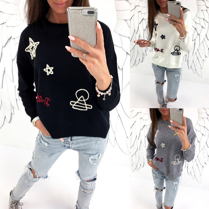 Cute Women's Star Hoodie Long Sleeve O-neck Sweatshirt Jumper Pullover Coat Tops