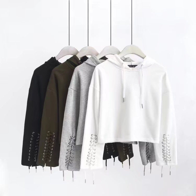 Bandage Cross Long Sleeve Hoodie Women Solid Hooded Short Sweatshirt Casual Fashion Ladies Tops