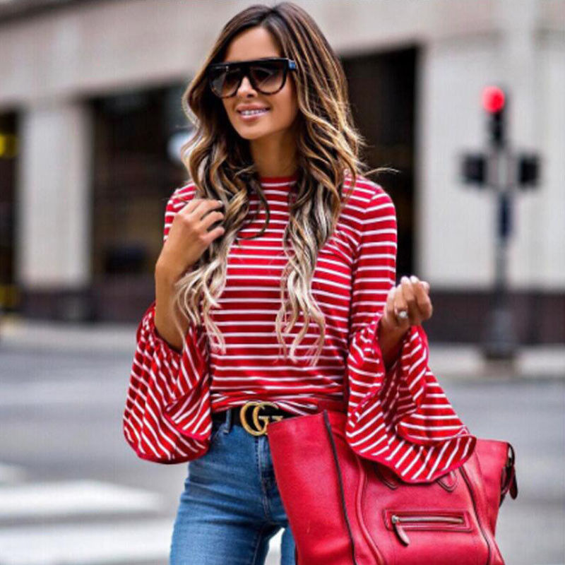 2017 New Autumn Women Long Flare Sleeve Striped Shirt Casual O-neck Pullover Tops T-Shirt