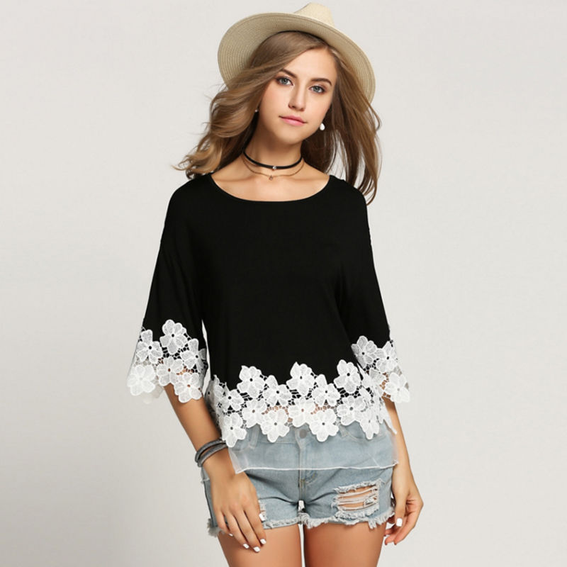 Fashion Womens Half Sleeve O-Neck Shirt Casual Lace Embroidery Floral Loose Tops T Shirt